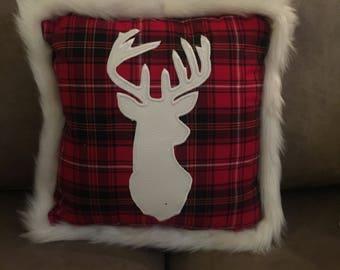 "14'x14"" Plaid Pillow w/ Faux Deerhead Silhouette"