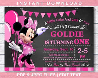 Minnie Mouse Invitation, Minnie mouse Birthday Invitation, Instant Download, first birthday, first birthday  Minnie mouse