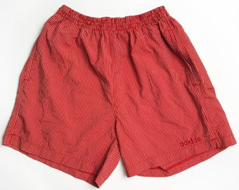 Vintage Adidas Red Shorts with Red Stripes Size M, Adidas 80s Shorts, Polyamide Shorts, Vintage Athletic Shorts