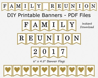 SALE Family Reunion 2017 Banner - Black & Gold - DIY Printable - INSTANT Download