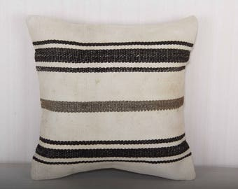 black and white pillows, black and white stripe pillow, stripe pillows, 16x16 pillow cover, throw pillow covers, striped cushions KP10080
