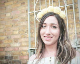 Yellow pompom headband, handmade