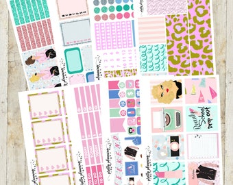Pink Ladies Deluxe Weekly Planner Sticker Kit (Pretty Planning Stickers for Erin Condren Life Planner, Happy Planner)
