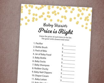 Price is Right Baby Shower Game Printable, Gold Confetti, Baby Shower Activities, The Price is Right, Instant Download, Shower Games, B001
