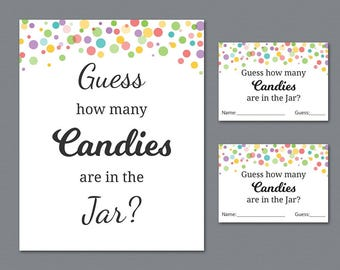 Rainbow Candy Guessing Game, Baby Shower Games Printable, Polka Dots, Guess How Many Candies in a Jar, Candies in Bottle, Activities, B010