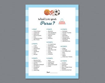 Whats in Your Purse, Baby Shower Games Printable, Sports Football Basketball, Purse Raid, Purse Hunt, What's In Your Bag, Soccer, B011