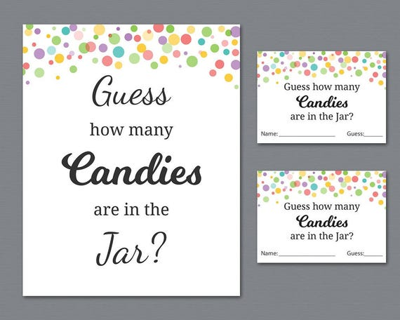 rainbow candy guessing game baby shower games printable. Black Bedroom Furniture Sets. Home Design Ideas