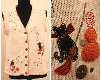 ugly sweater party vintage halloween sweater vest ugly christmas vest holiday sweater vest fall sweater cat pumpkin women's medium/ large