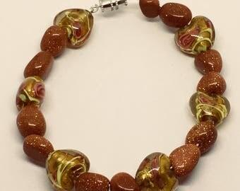 "Foil heats beads & sandstone bracelet       7 1/2"""