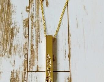 Handstamped Bar Necklace