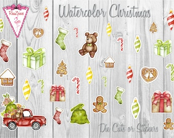 Watercolor Christmas - Die Cut / Sticker Set