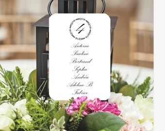 Classic and elegant wreath wedding table plan card, birthday, communion, baptism, customizable