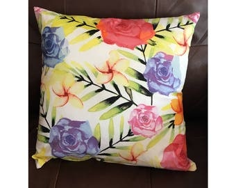 Bright Watercolor Tropical Flower Throw Pillow
