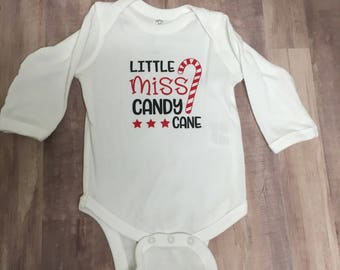 Little Miss Candy Cane long sleeve body suit, christmas outfit for baby, baby christmas outfit, long sleeve bodysuit, Cute baby girl outfit