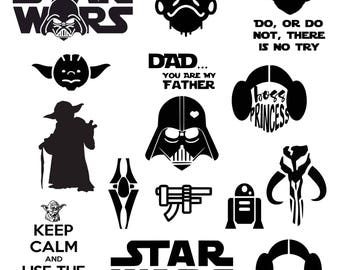 Star Wars SVG, Darth Vader, Master Yoda, Princess Leia, SVG, DXF, Png Vector Cut File Cricut Design Silhouette Vinyl Heat Transfer Iron
