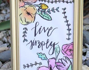 Live Simply Framed Art