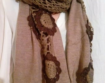 Scarf cotton, acrylic and crochet beige taupe