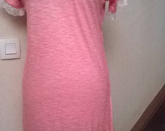 Faded pink cotton short sleeve dress