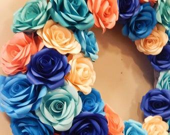 Custom 20 inch Paper Flower Wreath, Wall Décor, Home Décor