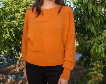 80's Vintage Orange Pullover Sweater (20% OFF!) Louis Feraud, Size S/M