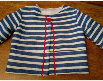 Stripey Tweed Jacket, Cute Red Buttons, three quarter sleeve, girls jacket, girls coat, girls clothing, girls fashion