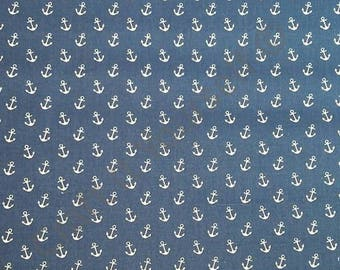 Navy and White Anchors 100% cotton fabric 44 inch / 110cm Nautical  boats ships