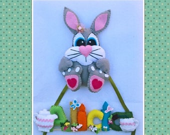 Name, Letters, Name of felt letters with small decorative details and nice rabbit for children. fielt, baby