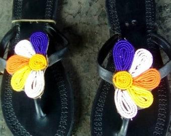 Pair of Maasai Beaded Sandals