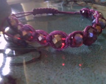 Purple Natural Bamboo Cording Red Faceted Beads Adjustable Macrame Bracelet Anklet Maroon Simple Fashionable Boho Chic Edgy Grunge  Indie
