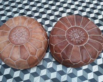 Set of 2 moroccan leather pouf, tan pouf, leather pouf, ottoman, poufs, pouf leather, ottoman leather, Genuine moroccan poufs, footstool