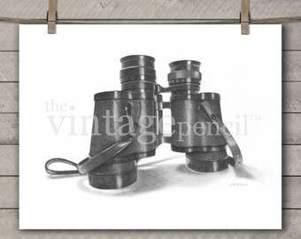 Binoculars Print, Gift for Him, Outdoorsman, Hunting Gifts, Bird Watching Gifts, Vintage Binoculars, Hunting Prints, Outdoor Decor, Military