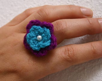 Handmade Crochet Flower Ring Boho Style with a vintage touch