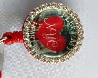 New York rhinestone ID badge holder, I left my heart in NY City, teacher,student, vacation,gift, souvenir