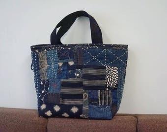 Handmade Boro sashiko tote bag indigo