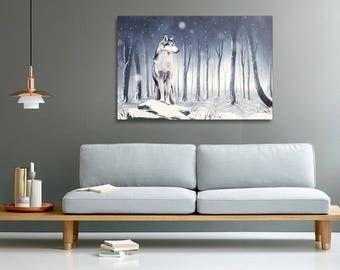 Husky dog in a winter forest print on canvas