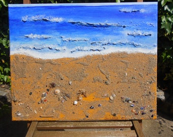 Original Tactile Mixed Media  Artwork on Canvas- 'Incoming Tide' -Joyous Sea and Beach