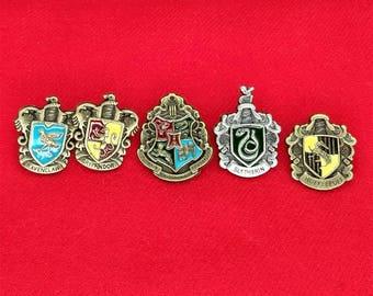 Harry Potter Hogwarts Gryffindor Hufflepuff Ravenclaw House Crest Badge Pin