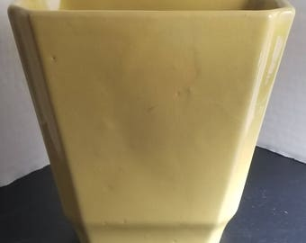 Medium Vintage Mustard Yellow Drip Glazed Ceramic Planter Stamped 858