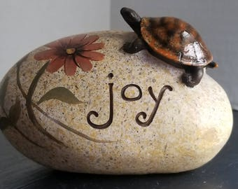 Ganz Turtle on a Rock Paperweight Joy Sign