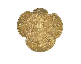French findings jewelry making Maiden with flowers vintage Art Nouveau Brass Stamping (1 pc)