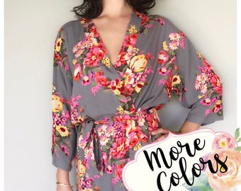 SALE! Cotton Floral Robes, Bridesmaid Robes Set of 3, 4, 5, 6, 7, 8, 9, 10, 11, 12, Bridesmaid gifts, Bride Robe, Bridal Getting Ready Robe