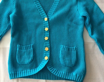 Authentic Vintage Gucci Turquoise Sweater with GG Button