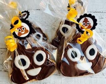 Poop Emoji party favor 12 cookies Poop Emoji birthday poop emoji decorations poop emoji invitations emoji party supplies emoji cupcakes cake
