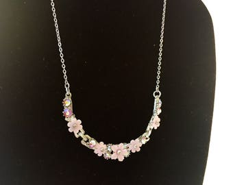 Pink crystal and lucite flower silver chain necklace