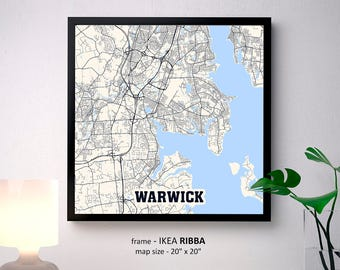 Warwick Rhode Island Map Print, Warwick Square Map Poster, Warwick Wall Art, Warwick gift, Custom Personalized map