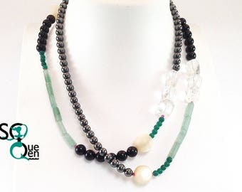 Long natural gemstone necklace - rock crystal, Pearl, green and Black Onyx, aventurine, Hematite