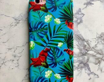 Tropical Blue Leaf Floral Summer Hard Matte Case for iPhone 6 6S