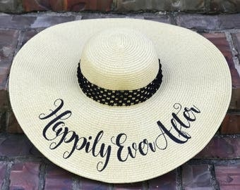 """EMBROIDERED """"Happily Ever After"""" Custom Sun Hat, Honeymoon Beach Hat, Floppy Hat, Engagement Hat, Personalized Hat, Bride Gift, Girls Trip,"""
