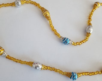 Sun necklace, glass and metal beads