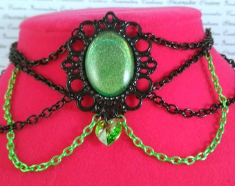 Handpainted green stone and black and green chain choker necklace gothic victorian